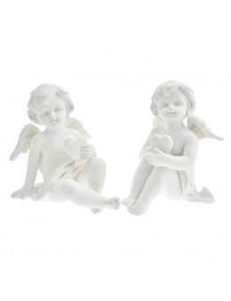 Paire d'anges assis en résine