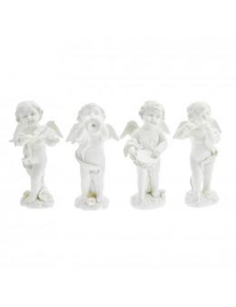 Set de 4 anges musiciens debout en résine